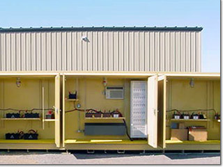 Battery storage in chemical storage buildings