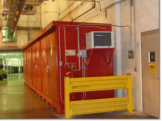 Hazmat storage building indoors